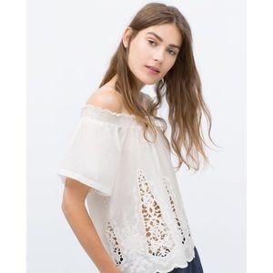 Zara | White Crochet Paneled Off Shoulder Blouse